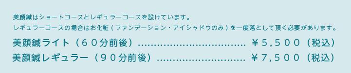 美顔鍼はショートコースとレギュラーコースを設けています。 レギュラーコースの場合はお化粧(ファンデーション・アイシャドウのみ)を一度落として頂く必要があります。美顔鍼ライト(60分前後)¥5,500(税込)美顔鍼レギュラー(90分前後)¥7,500(税込)